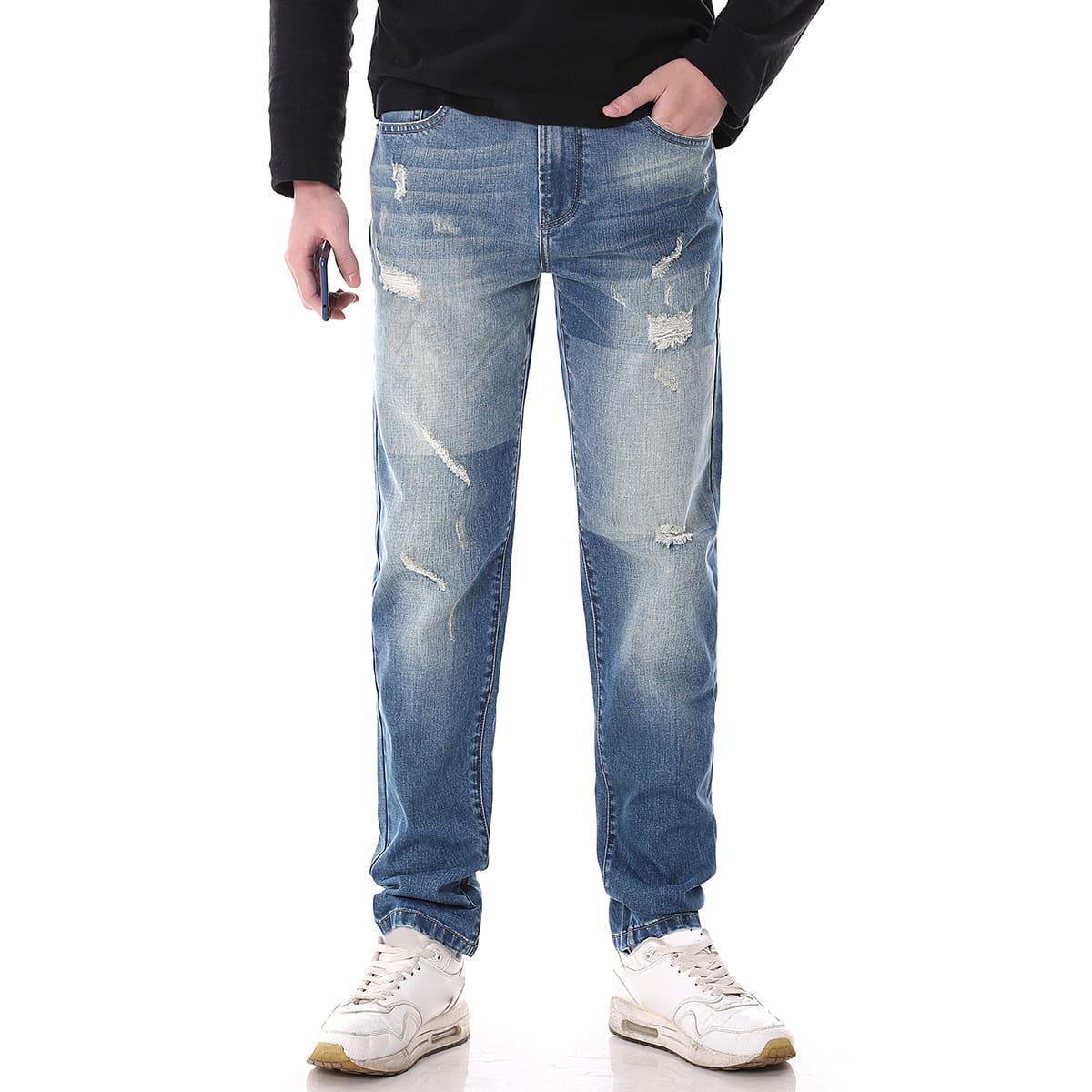 Мужские рваные прямые джинсы с карманом по цене 2 190