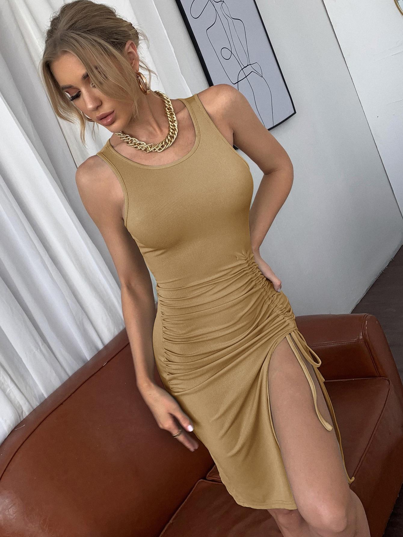 drawstring knot split thigh rib-knit dress