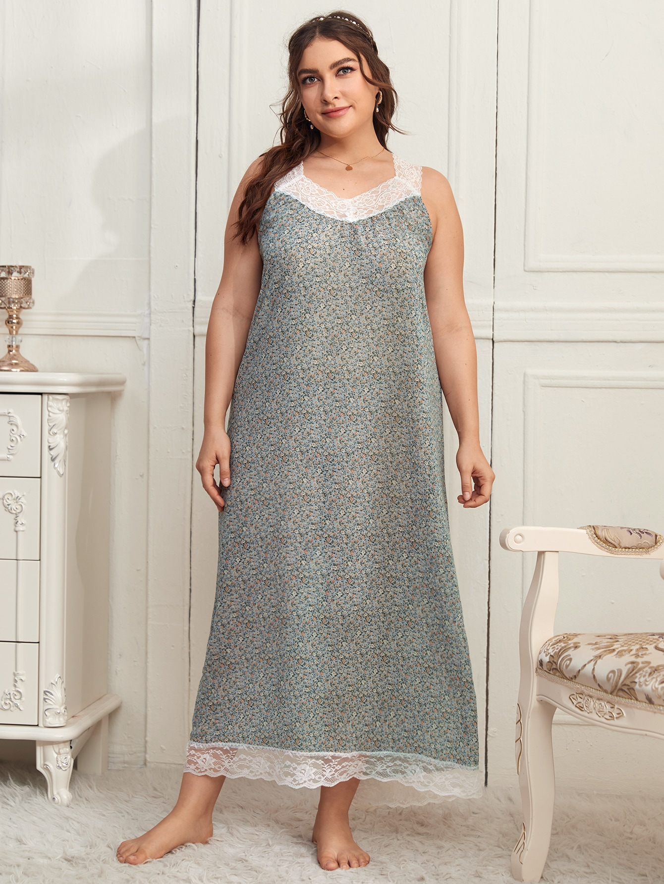 Plus Ditsy Floral Contrast Lace Night Dress