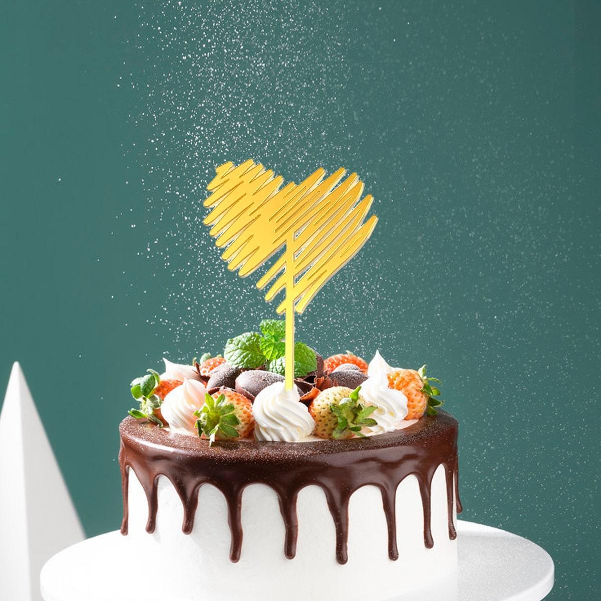 1шт топпер для торта в форме сердечка