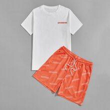 Guys Letter Graphic Tee & Drawstring Waist Shorts