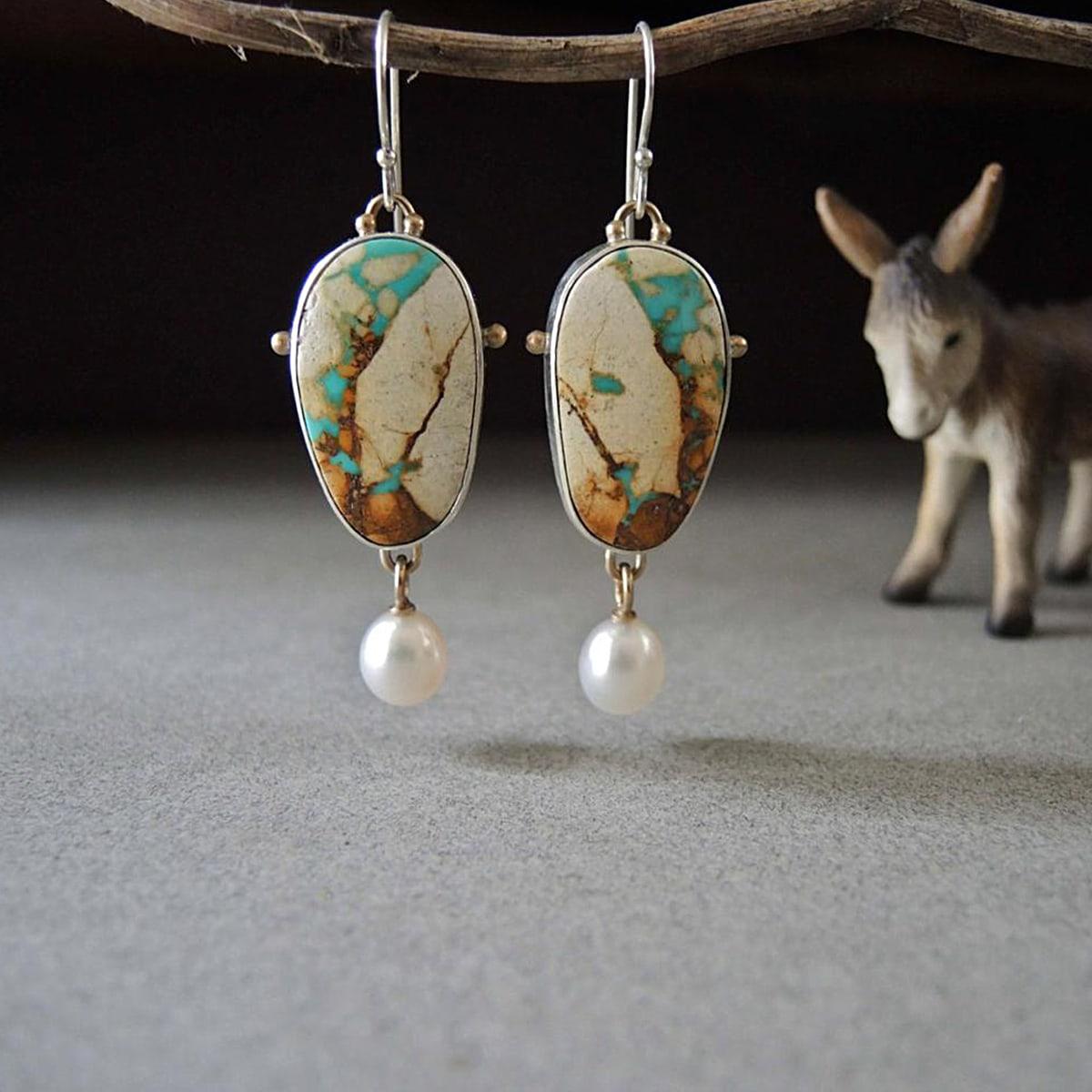 Faux Pearl Drop Vintage Earrings