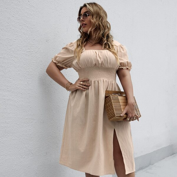 Plus Solid Shirred Split Thigh Dress, Apricot