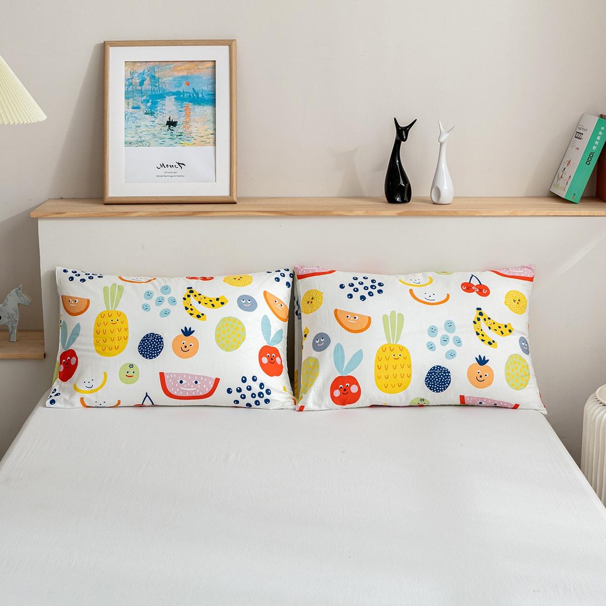 1 Paire Taie D'oreiller Avec Imprimé (Sans Bourre)