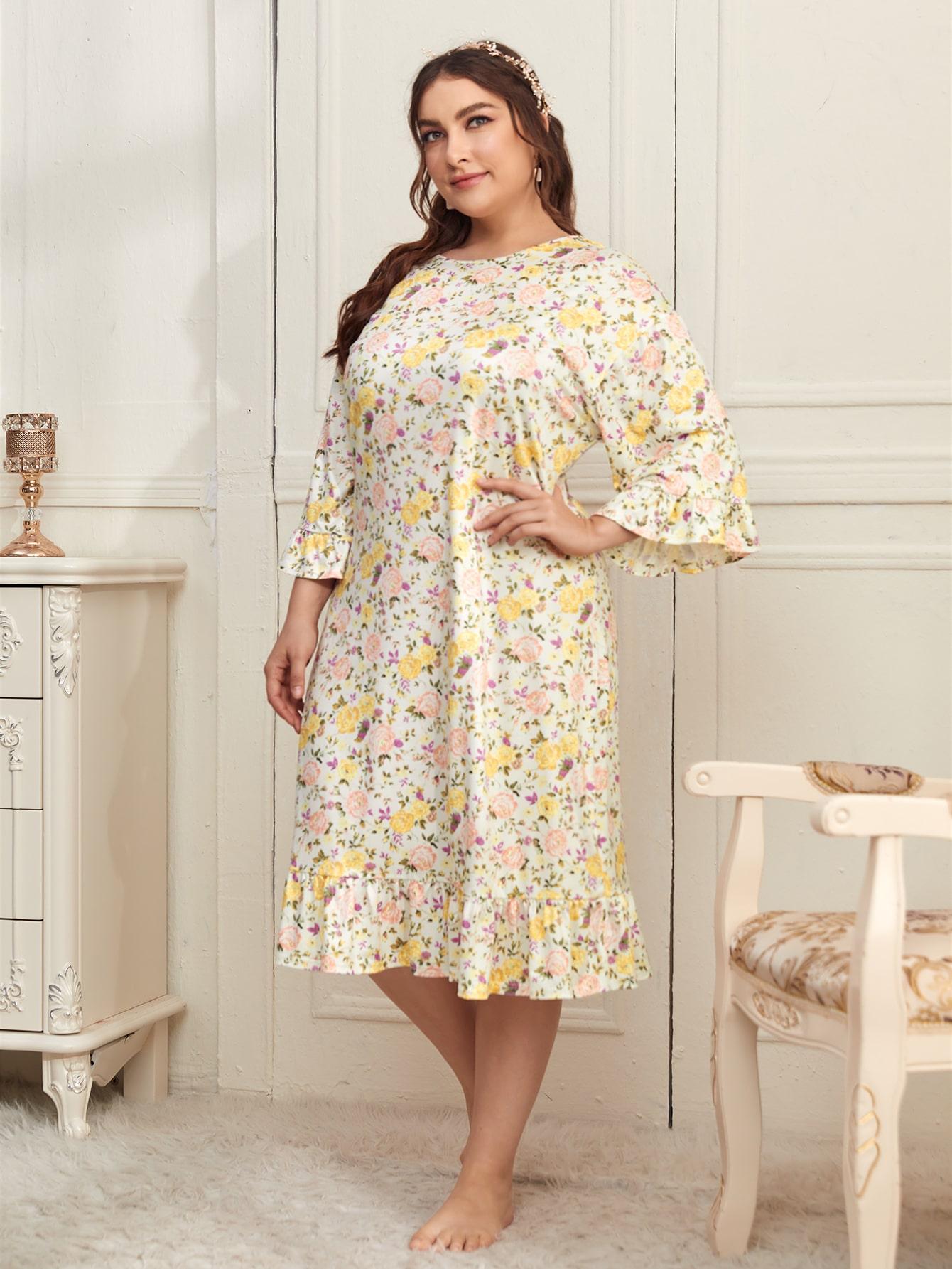 Plus Allover Floral Print Ruffle Hem Night Dress