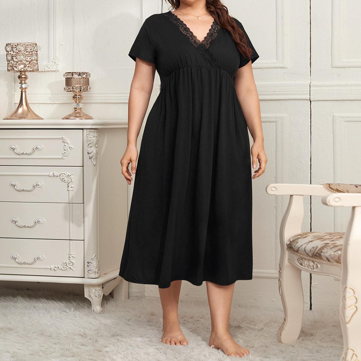 Plus Wrap Lace Trimed A-line Night Dress