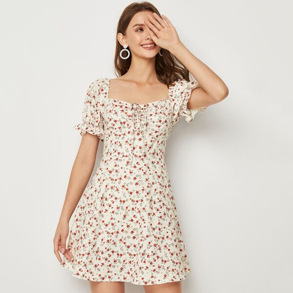 Flounce Sleeve Knot Front Ditsy Floral Dress, Multicolor