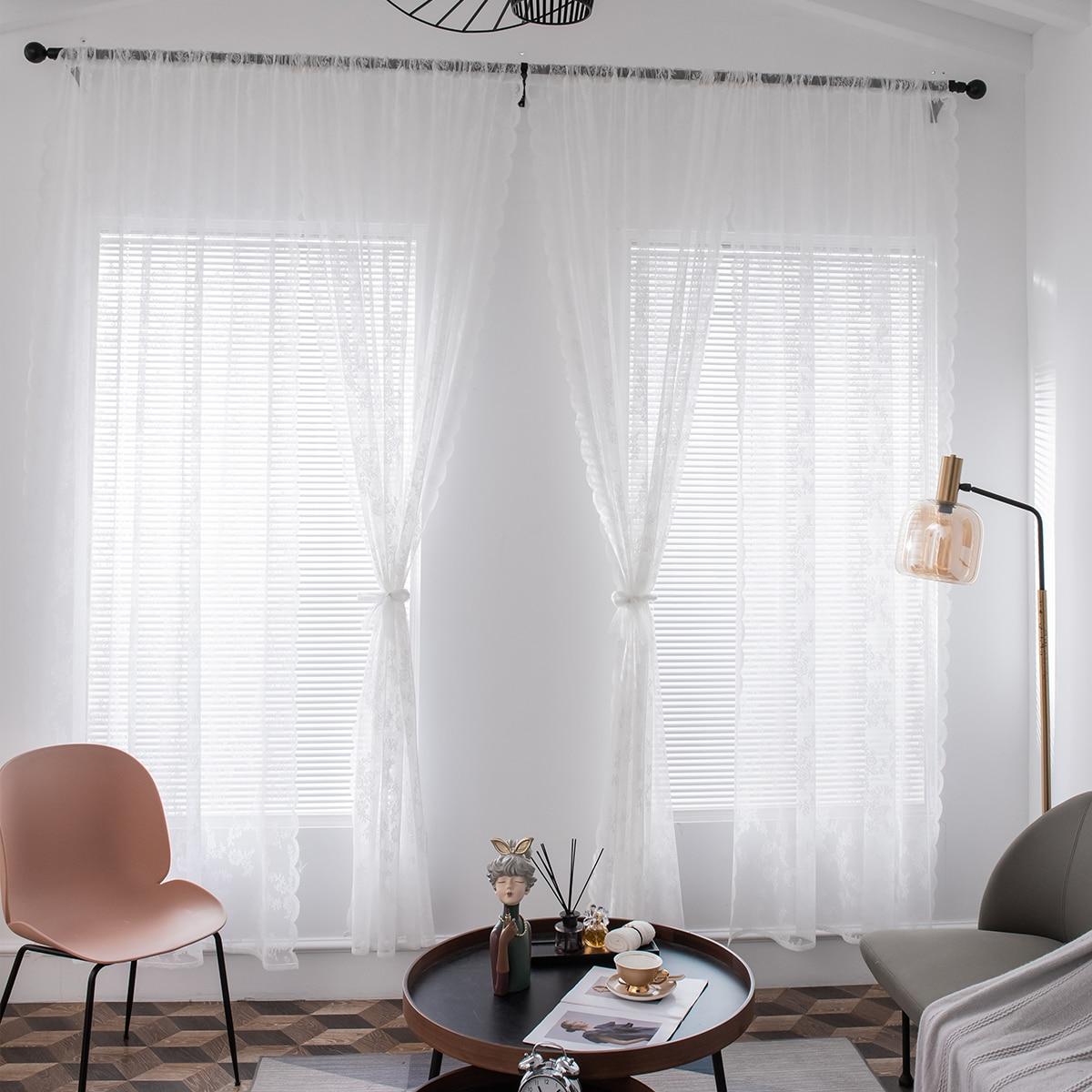 1 Schal Vorhang mit Blumen Muster und Spitzen