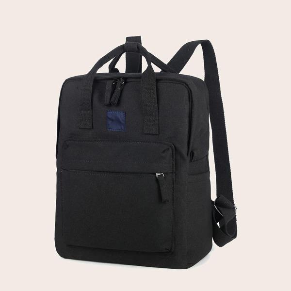 Minimalist Large Capacity Canvas Backpack, Black