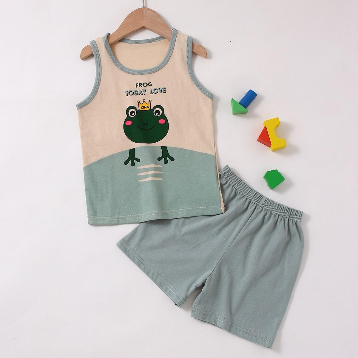 Пижама с принтом лягушки для мальчиков