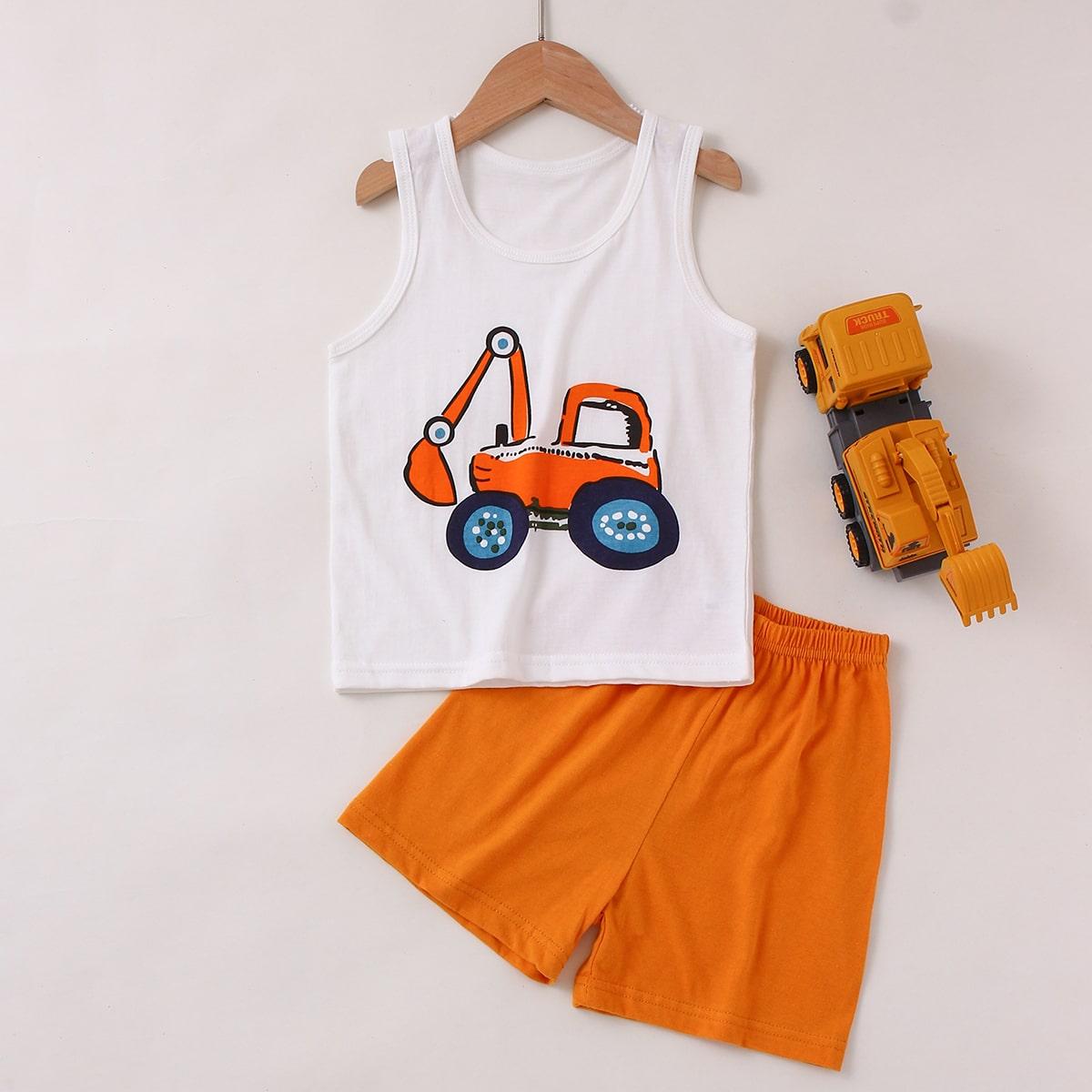 Пижама с принтом экскаватора для мальчиков