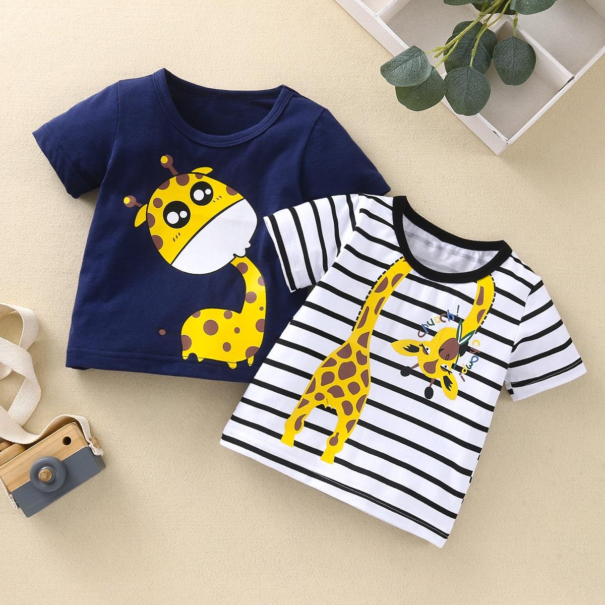 2шт футболка с оригинальным принтом для мальчиков SheIn sktop03210119523