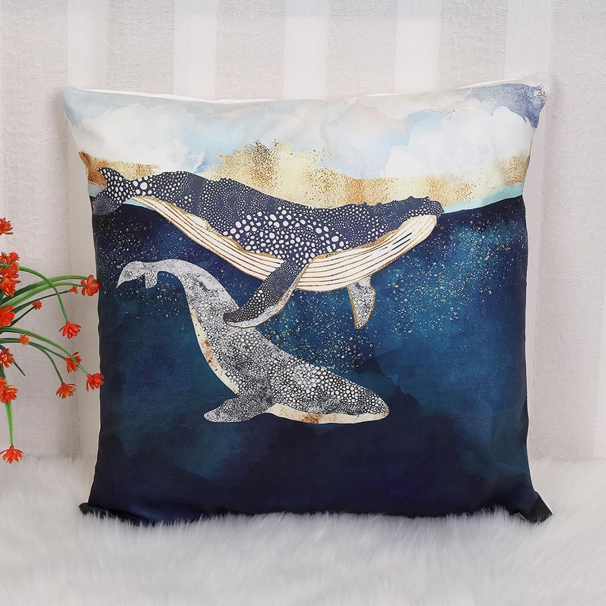 Housse de coussin à imprimé baleine sans bourre