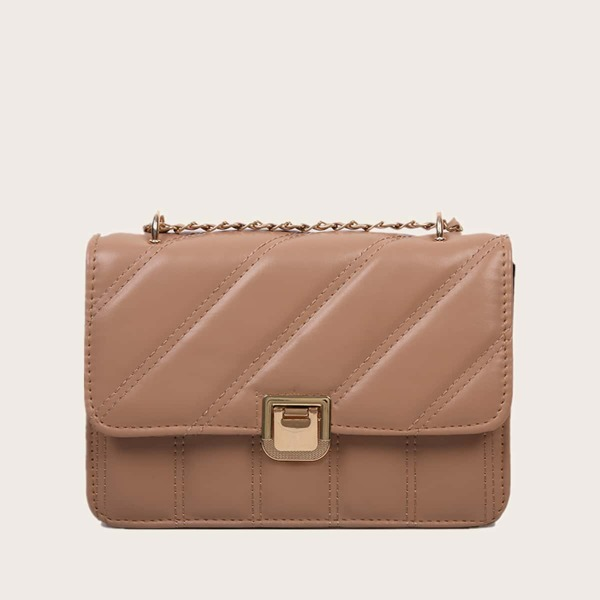Stitch Detail Chain Shoulder Bag, Camel