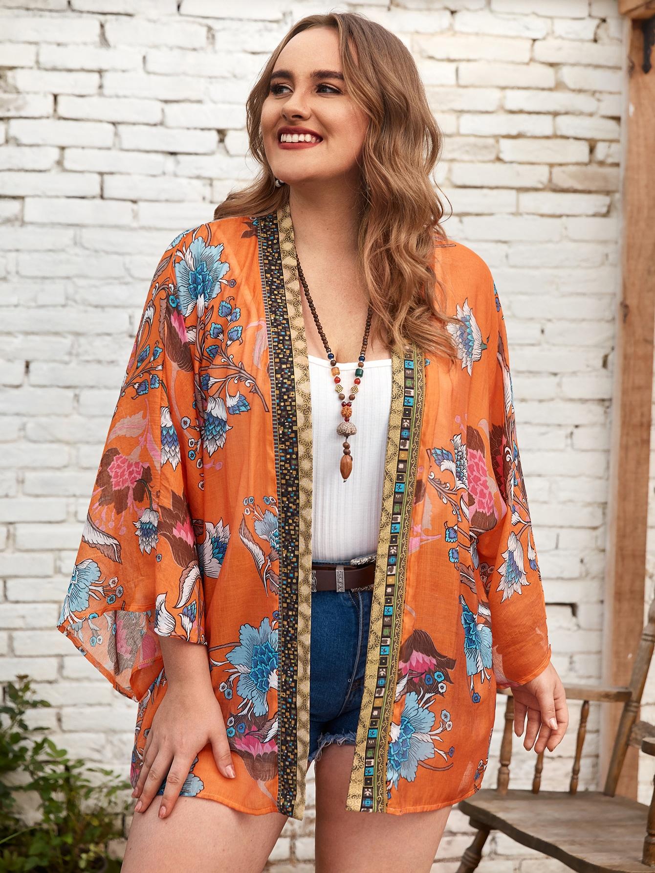 Plus Floral Print Chiffon Kimono