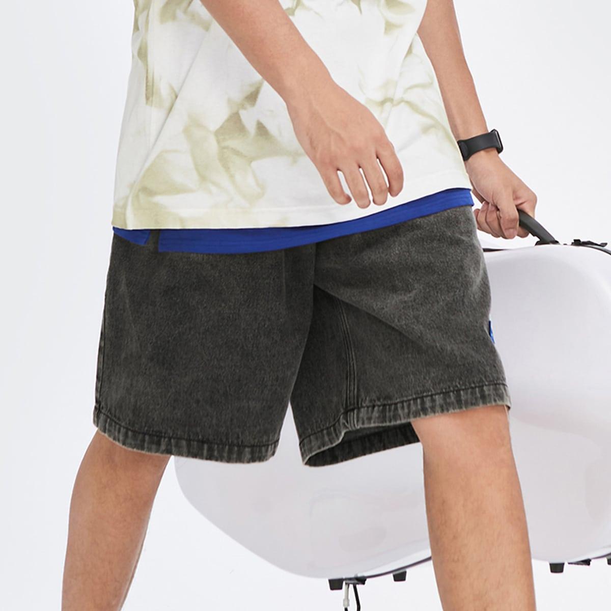 Мужские джинсовые шорты-бермуды без цепочки от SHEIN