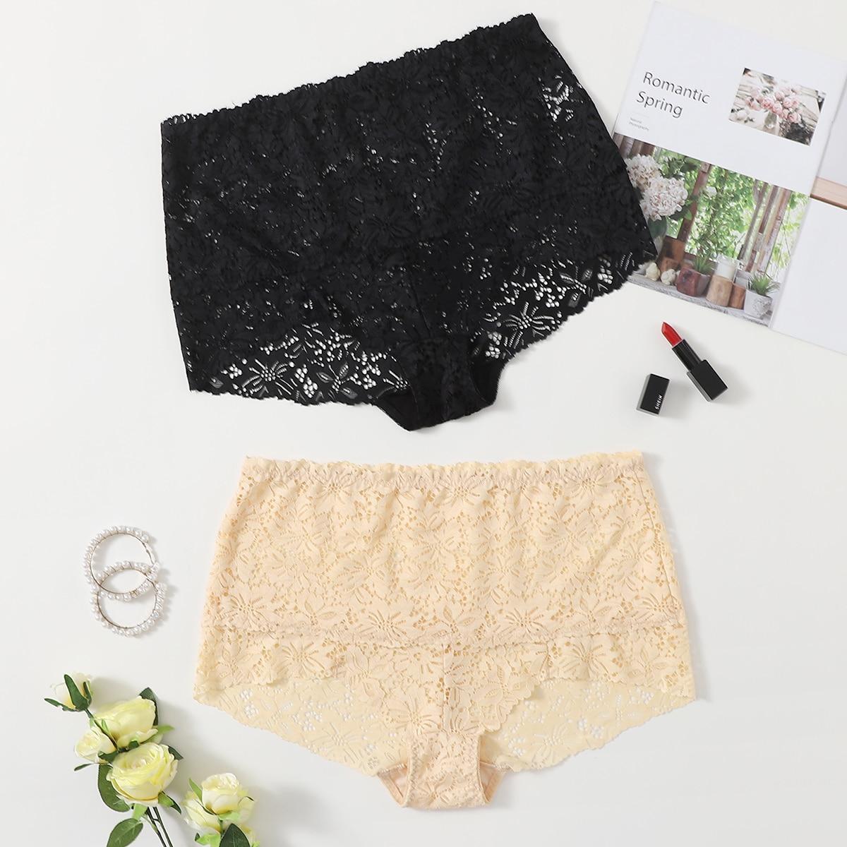 SHEIN 2-pack plus size gebloemde kanten panty set
