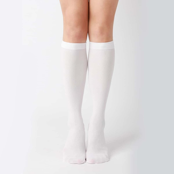 Solid Over The Calf Socks, White
