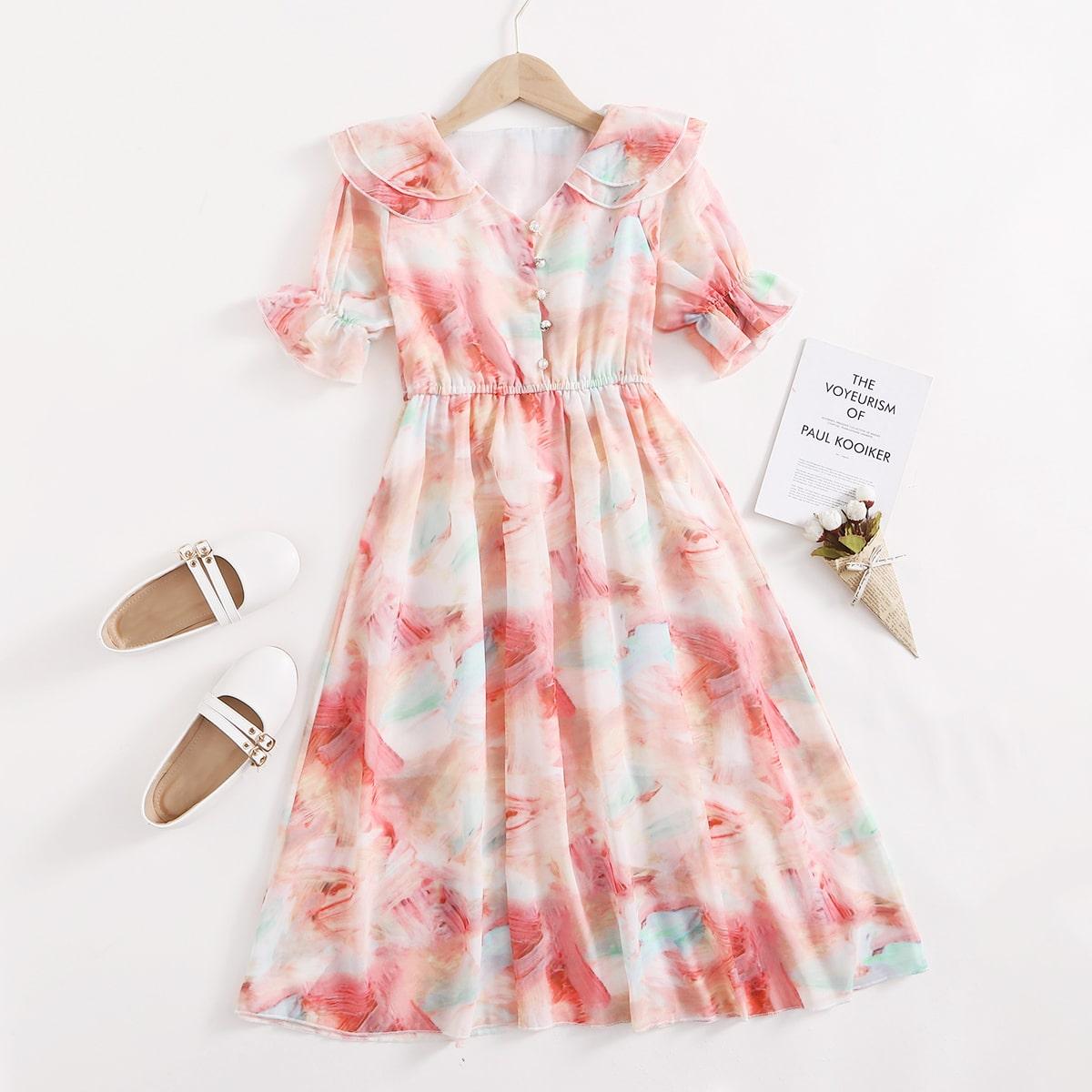 Geschichtetes A-Linie Kleid mit Grafik Muster