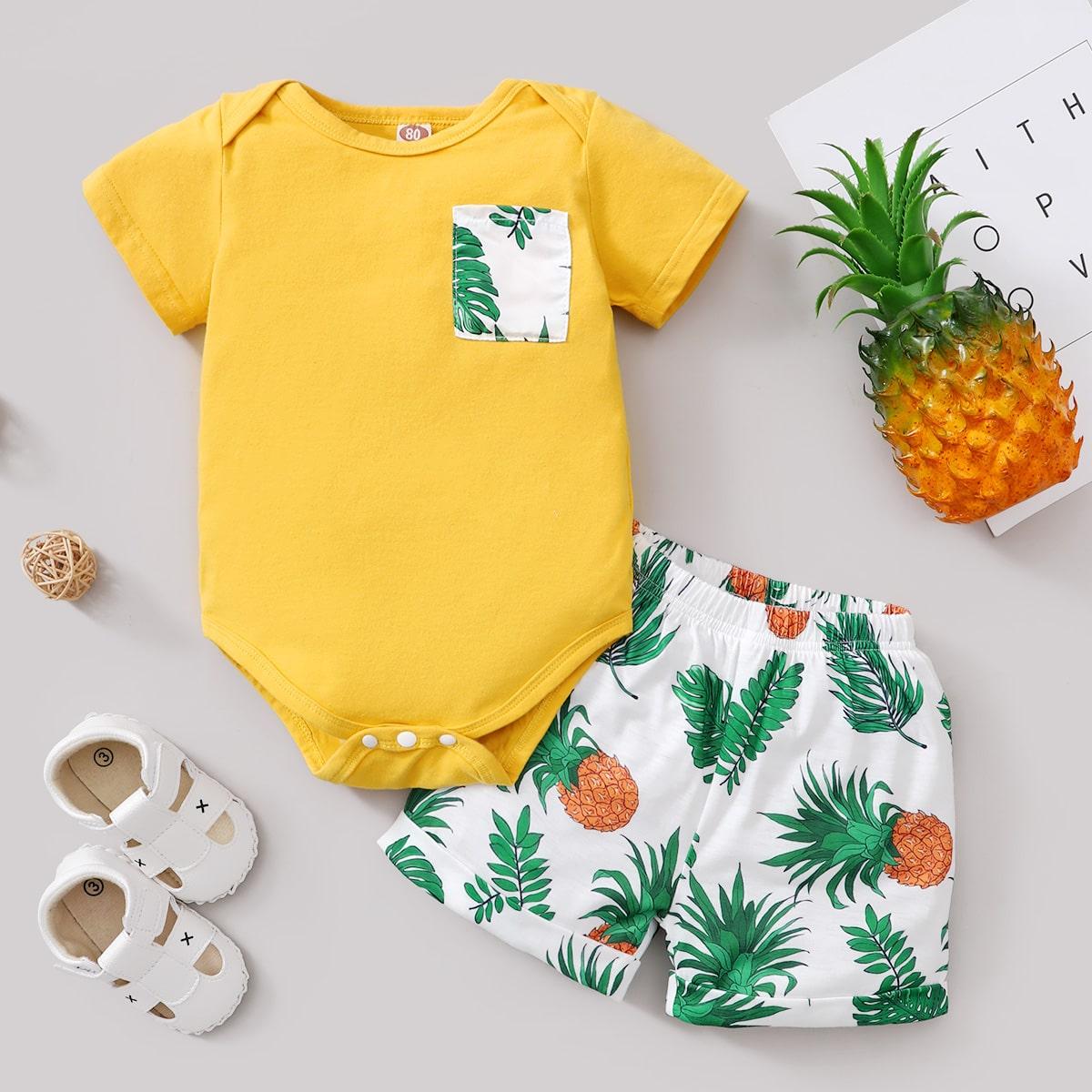 T-Shirt Body mit Ananas & tropischem Muster und Shorts