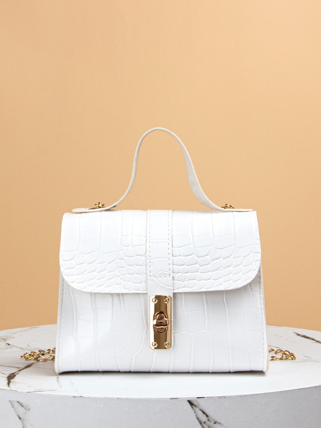 turn-lock croc embossed satchel bag