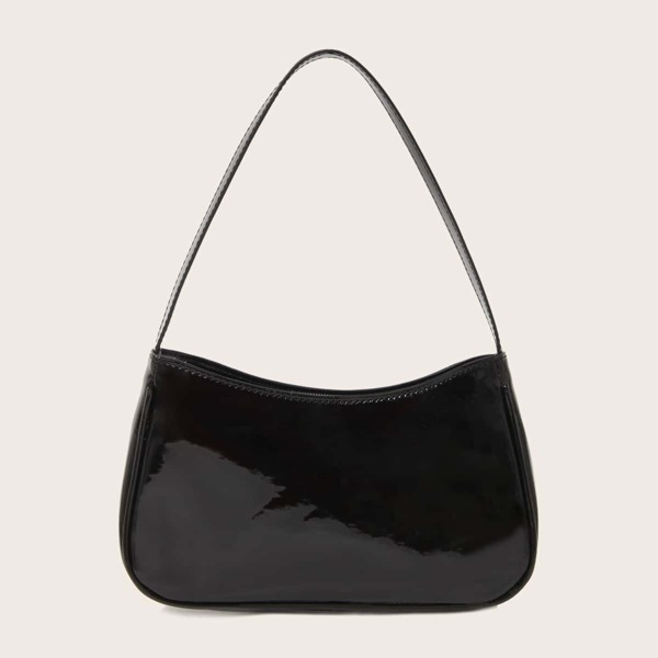 Patent Leather Baguette Bag, Black
