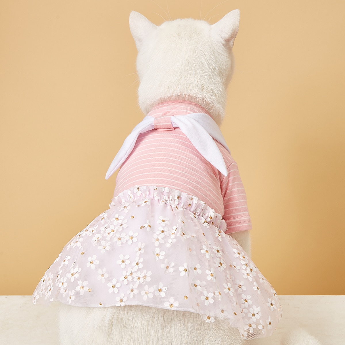 Flower & Striped Pattern Pet Dress