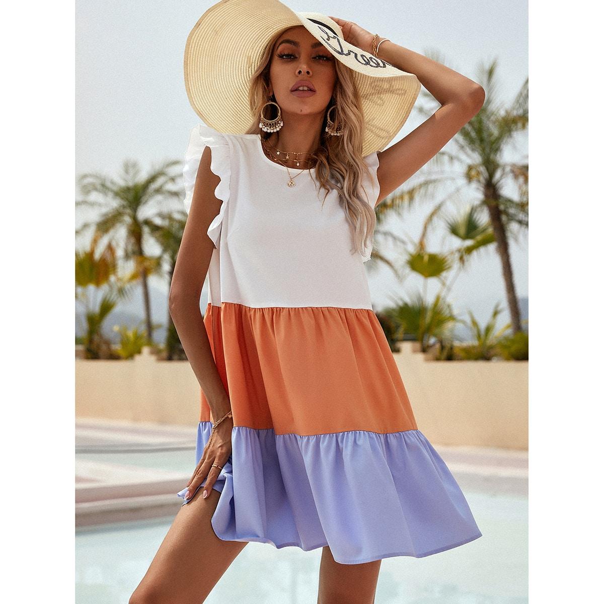 Платье комбинированным принтом с оборкой SheIn swdress23210310849