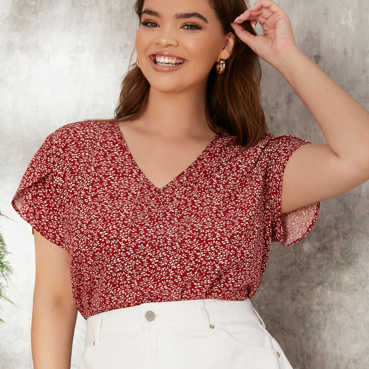 SHEIN Casual Planten Grote maat blouse