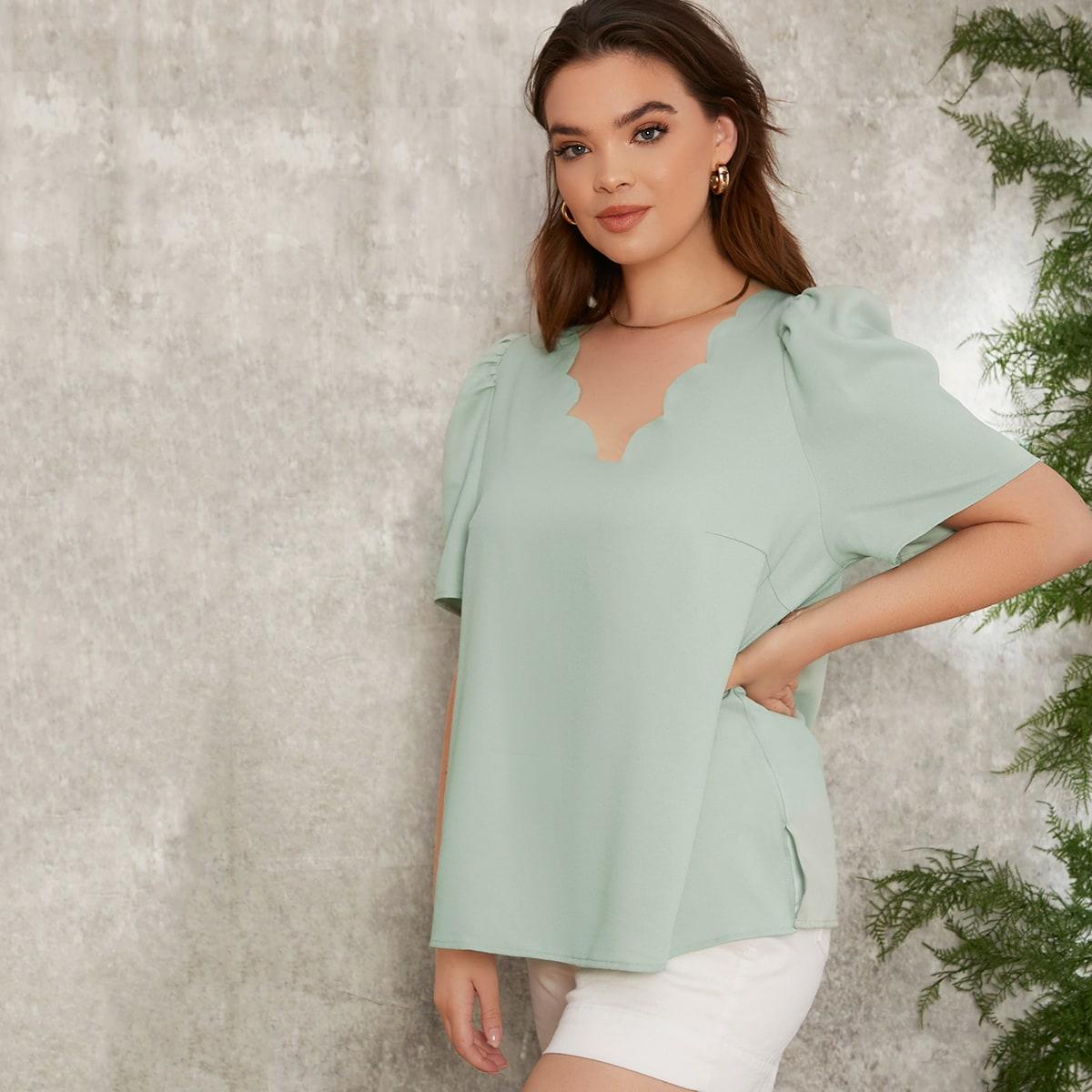 SHEIN Casual Vlak Grote maat blouse Schulp