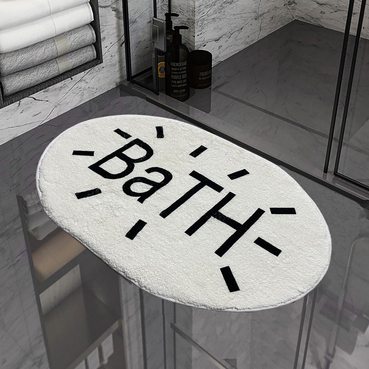 Non-Slip Badematte mit Buchstaben Grafik