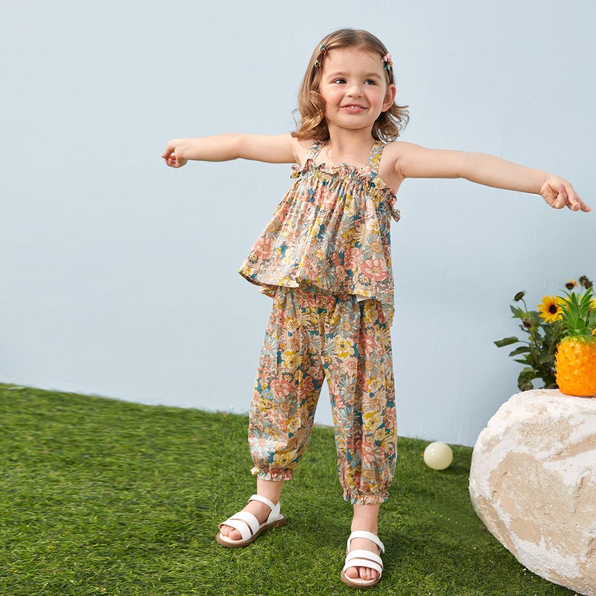 Cami Top mit Blumen Muster und Rüschen & Hose