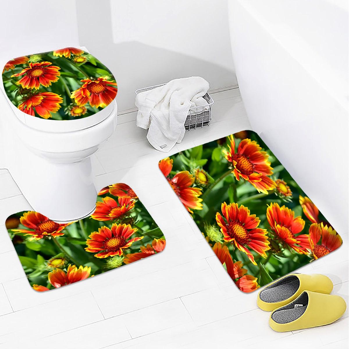 1 Stück Non-Slip Badematte mit Blumen Muster