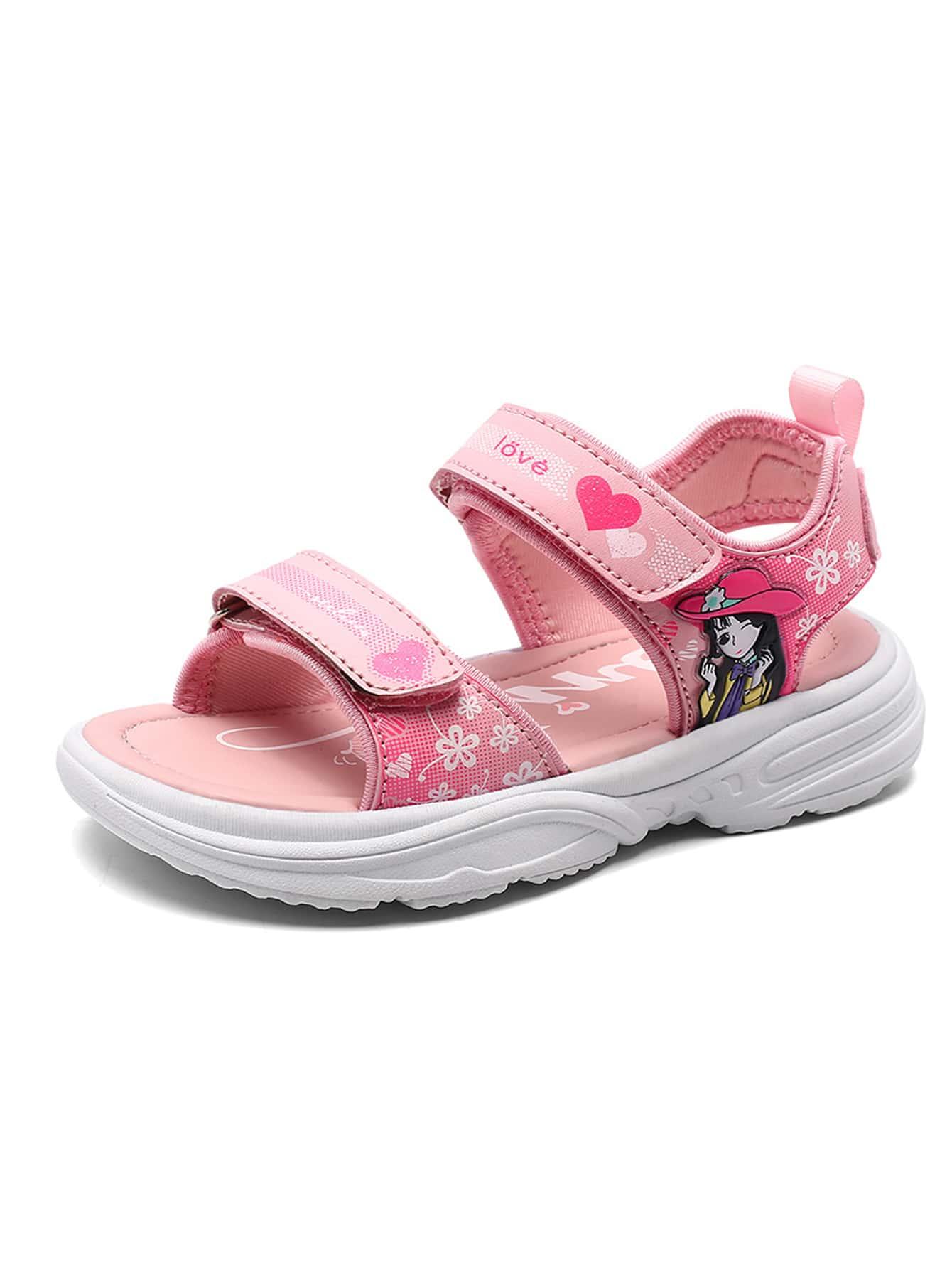 Girls Figure Patch Sport Sandals