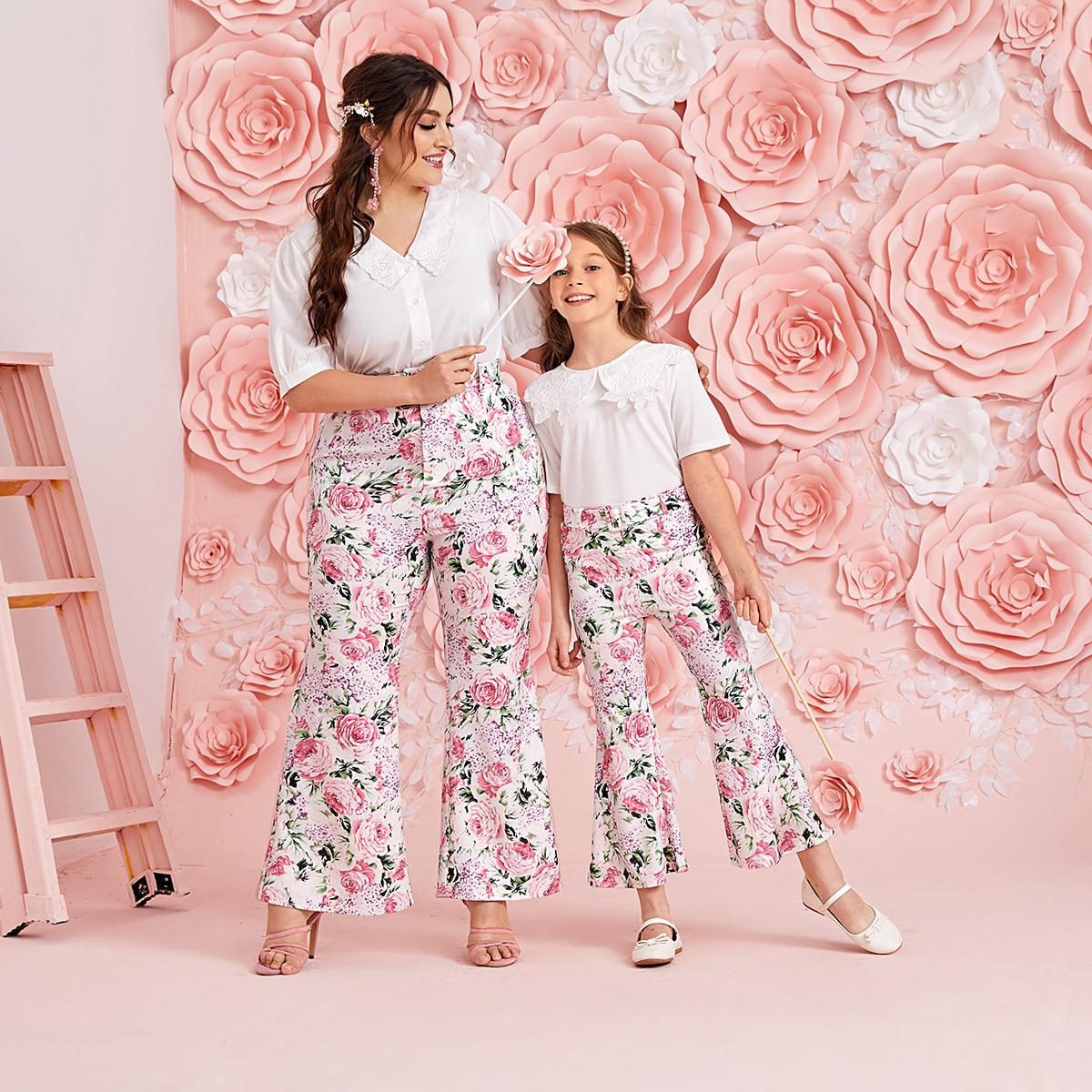 Plus 1 Pack Floral Print Flare Leg Pants
