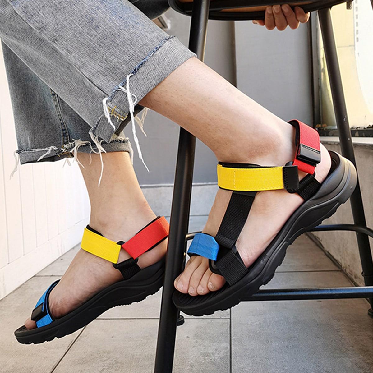 С открытой пяткой Контрастный цвет Мужские сандалии