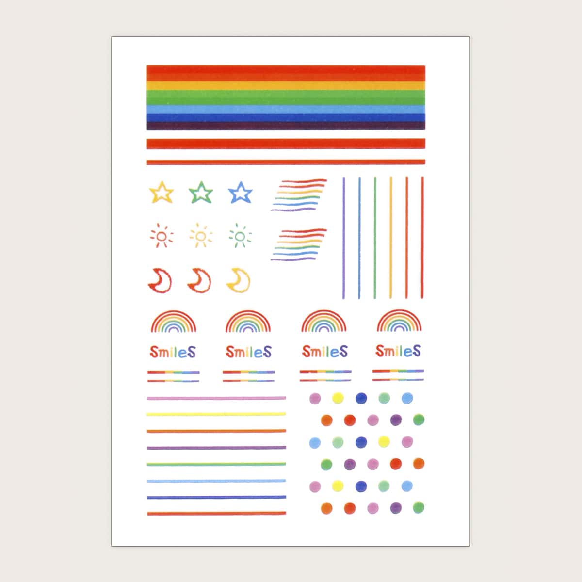 1 Blatt Nagelkunst Aufkleber mit Regenbogen Streifen