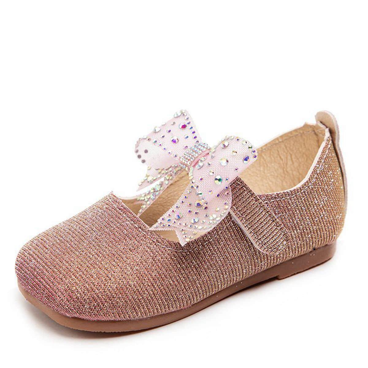 Туфли на плоской подошве со стразами и бантом для девочек от SHEIN