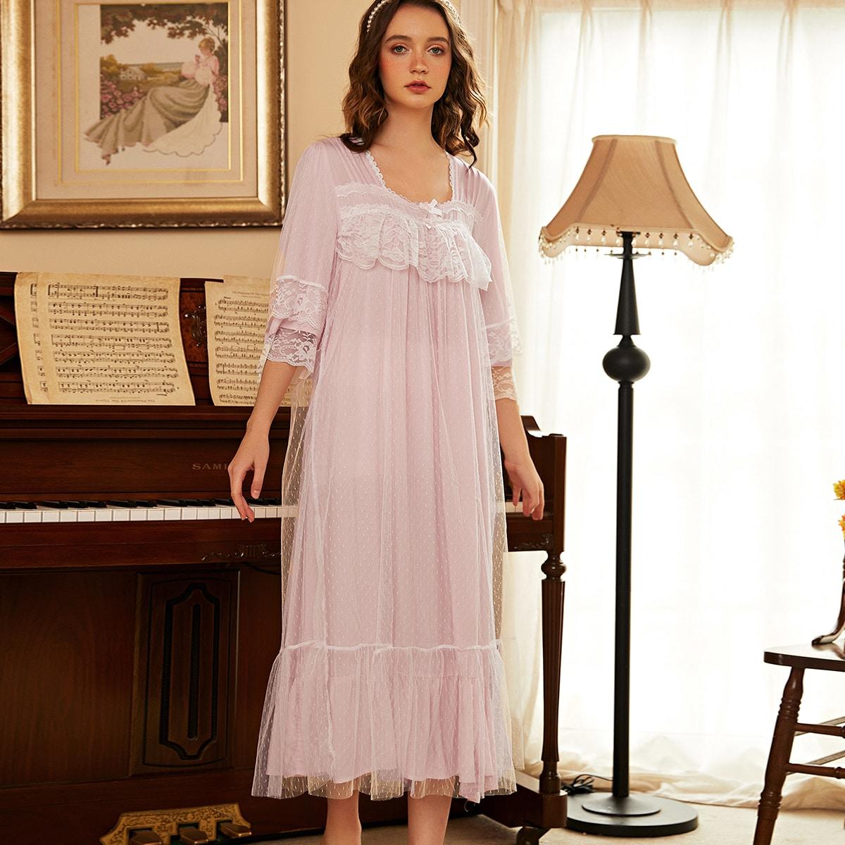 Контрастная сетка Одноцветный Королевский Ночная рубашка