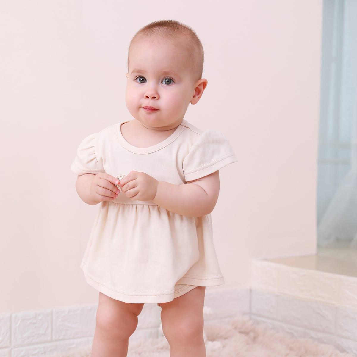 Однотонное платье-боди для девочек от SHEIN