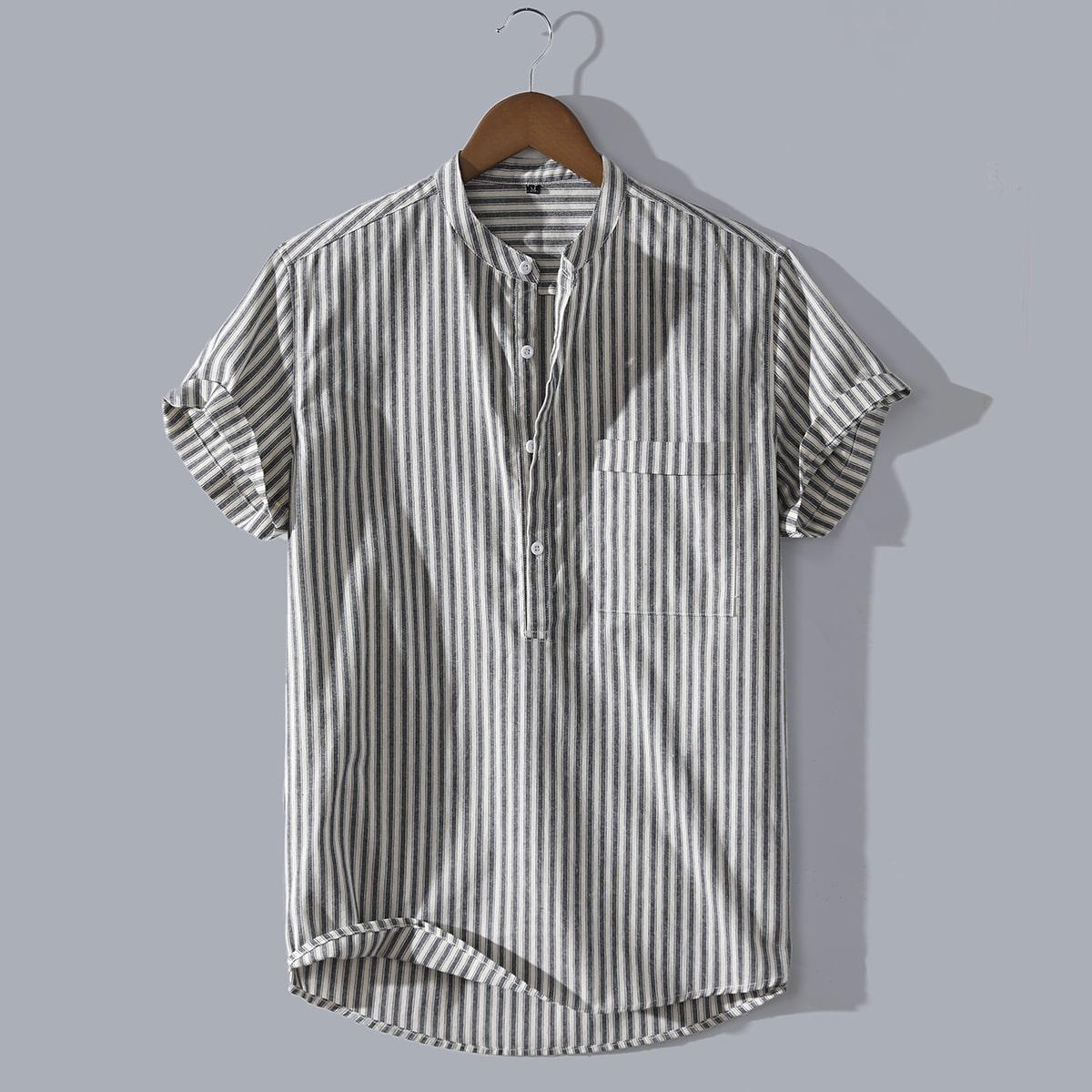 1шт мужская рубашка в полоску с карманом по цене 1 030