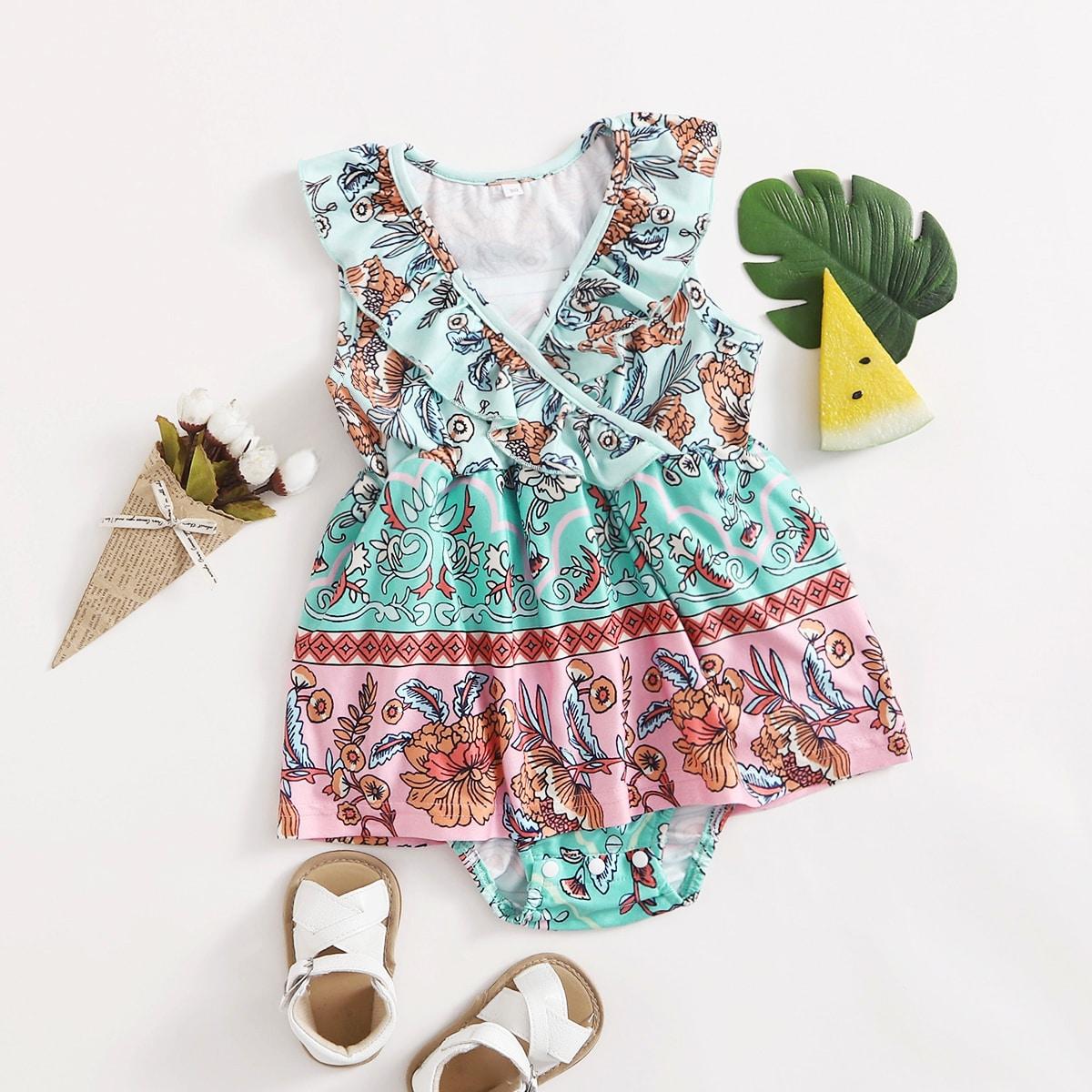 для девочек с цветочным принтом с оборкой Составной комплект Боди Платье от SHEIN