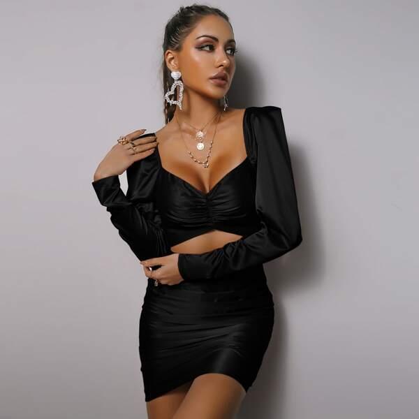 Gigot Sleeve Ruched Peekaboo Satin Dress, Black