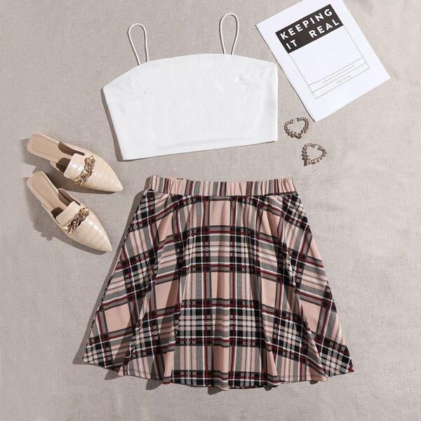 Plus Crop Cami Top & Tartan Skirt Set, Multicolor