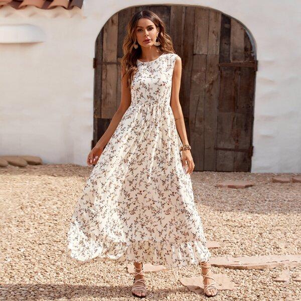 Ditsy Floral Ruffle Hem Longline Dress, White