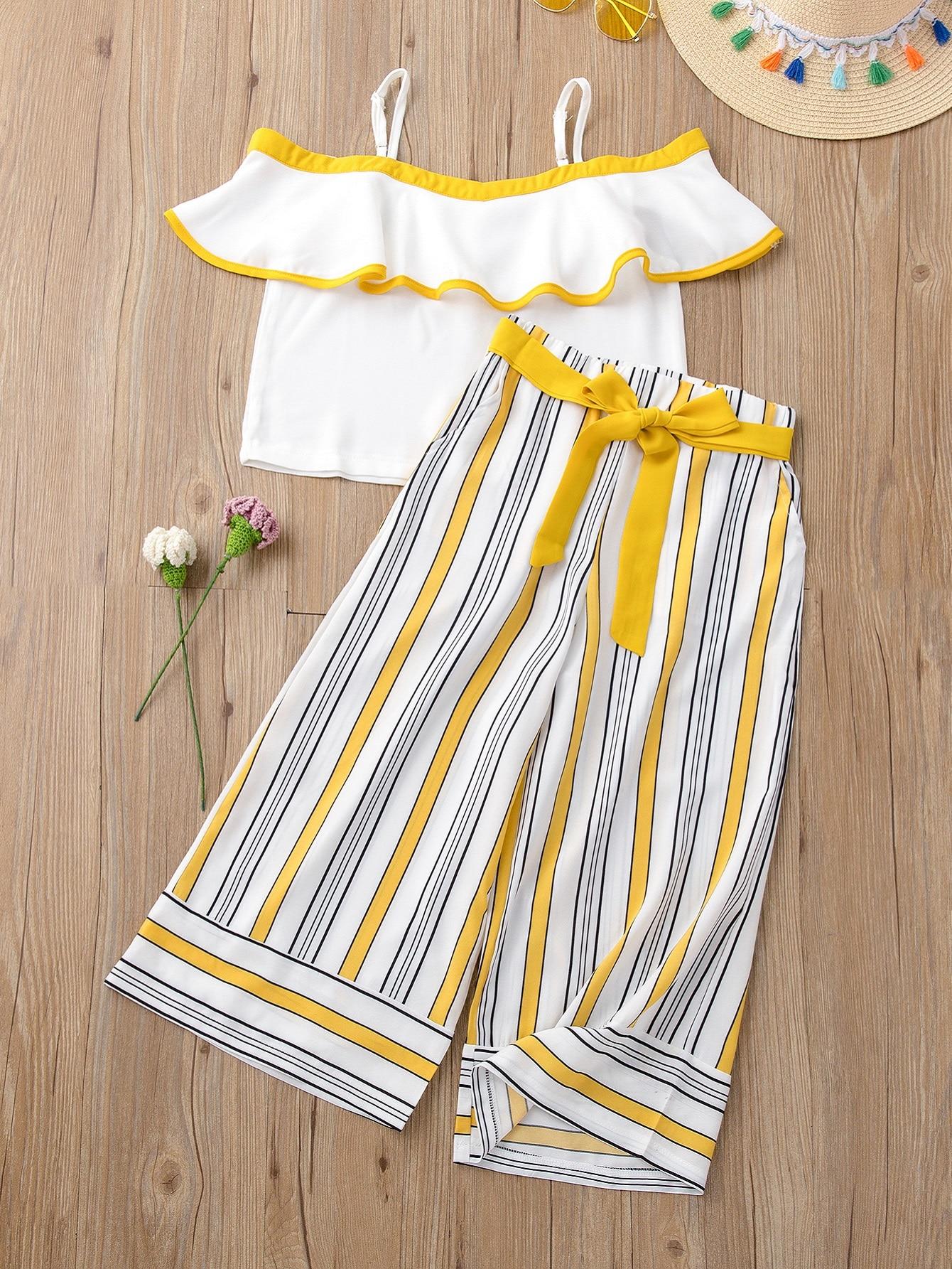 toddler girls cold shoulder blouse & striped belted pants