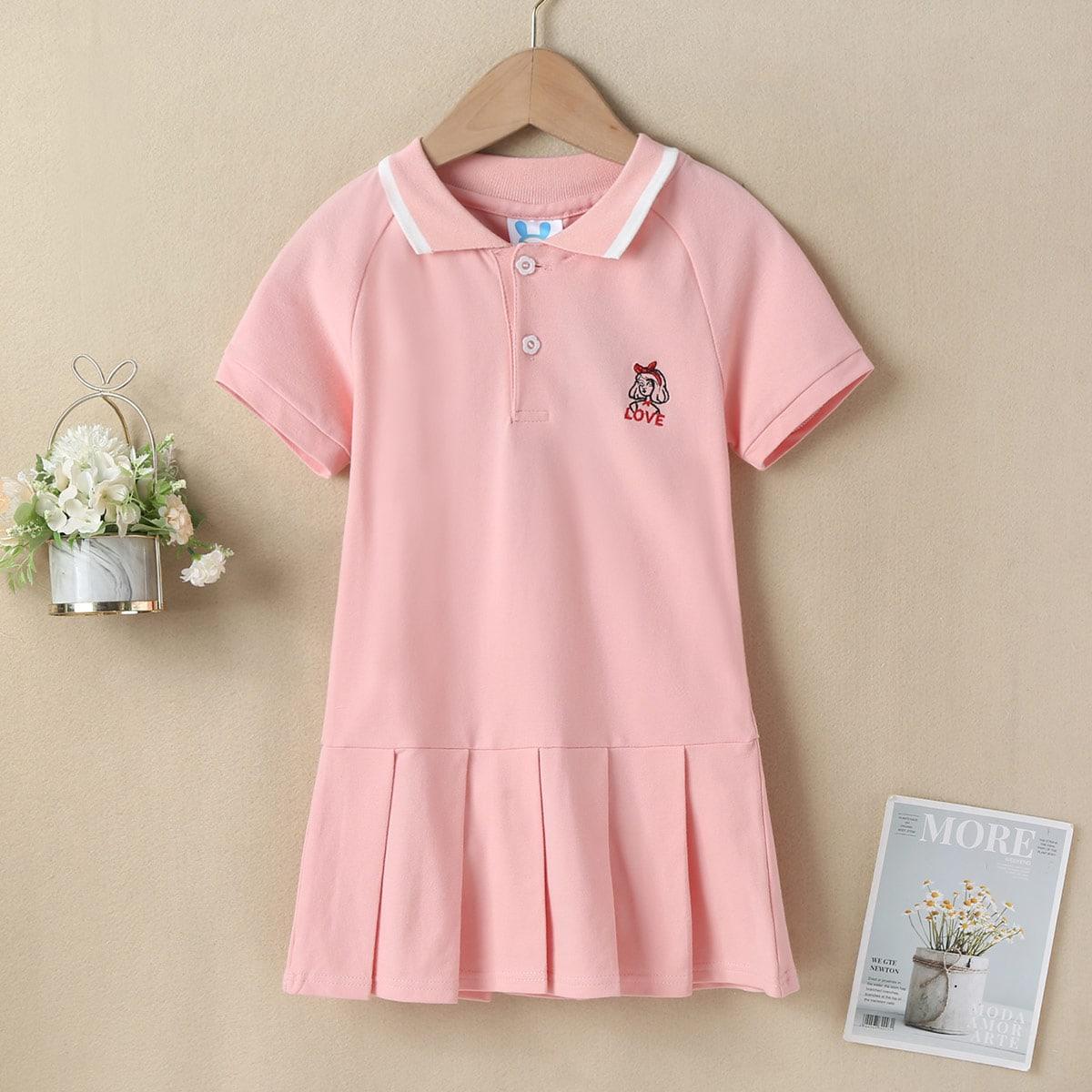 Polo Kleid mit Gänseblümchen Stickereien und Falten