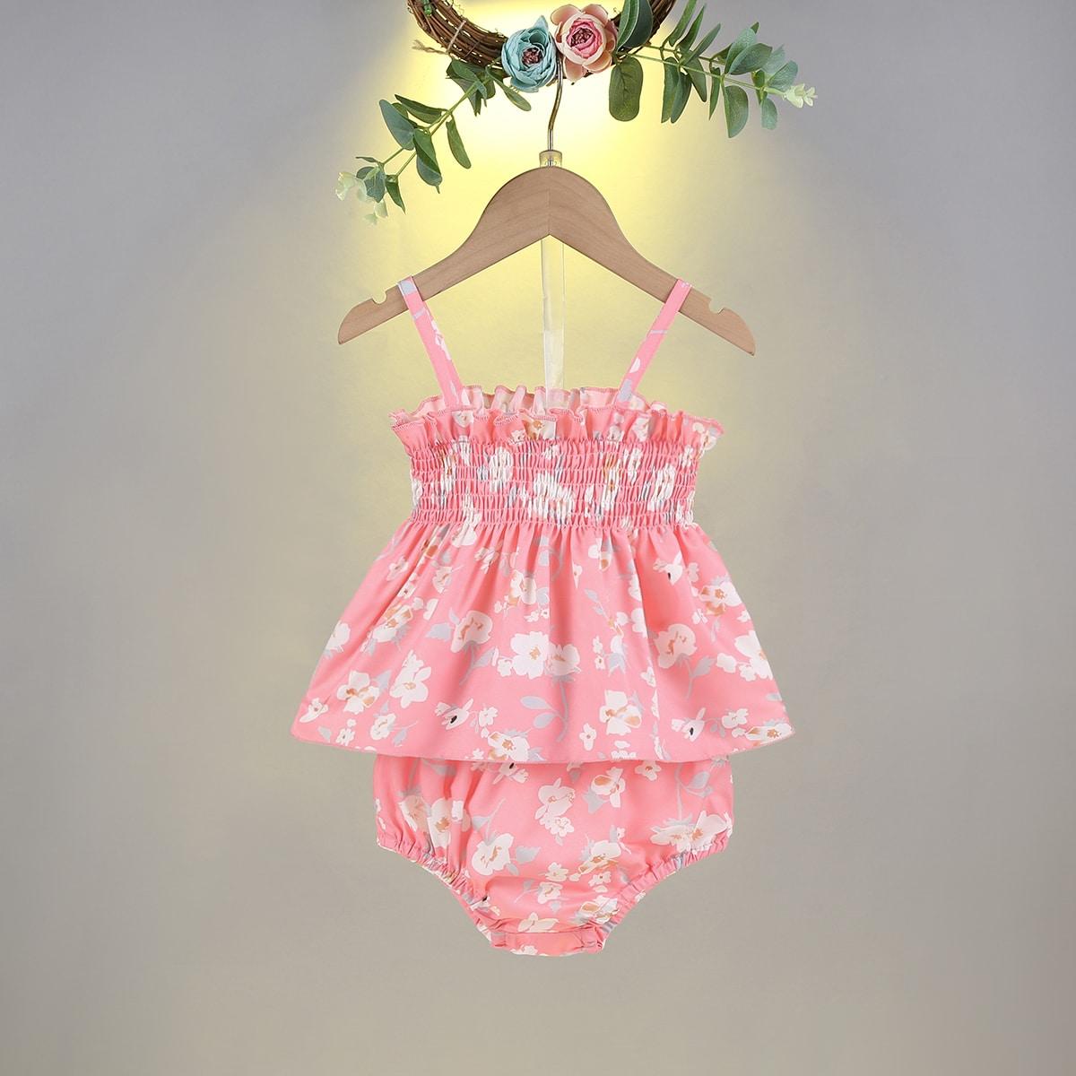 SHEIN Schattig Bloemen Baby-setjes Ruches