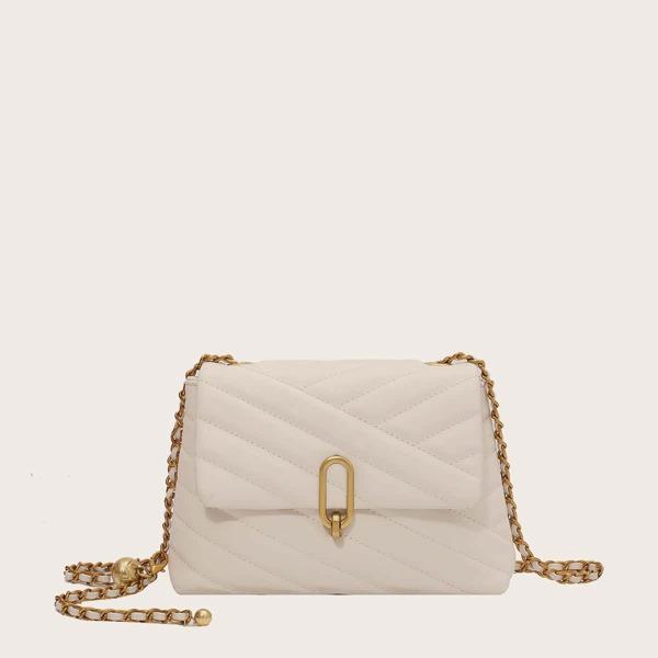 Stitch Detail Flap Shoulder Bag, Beige