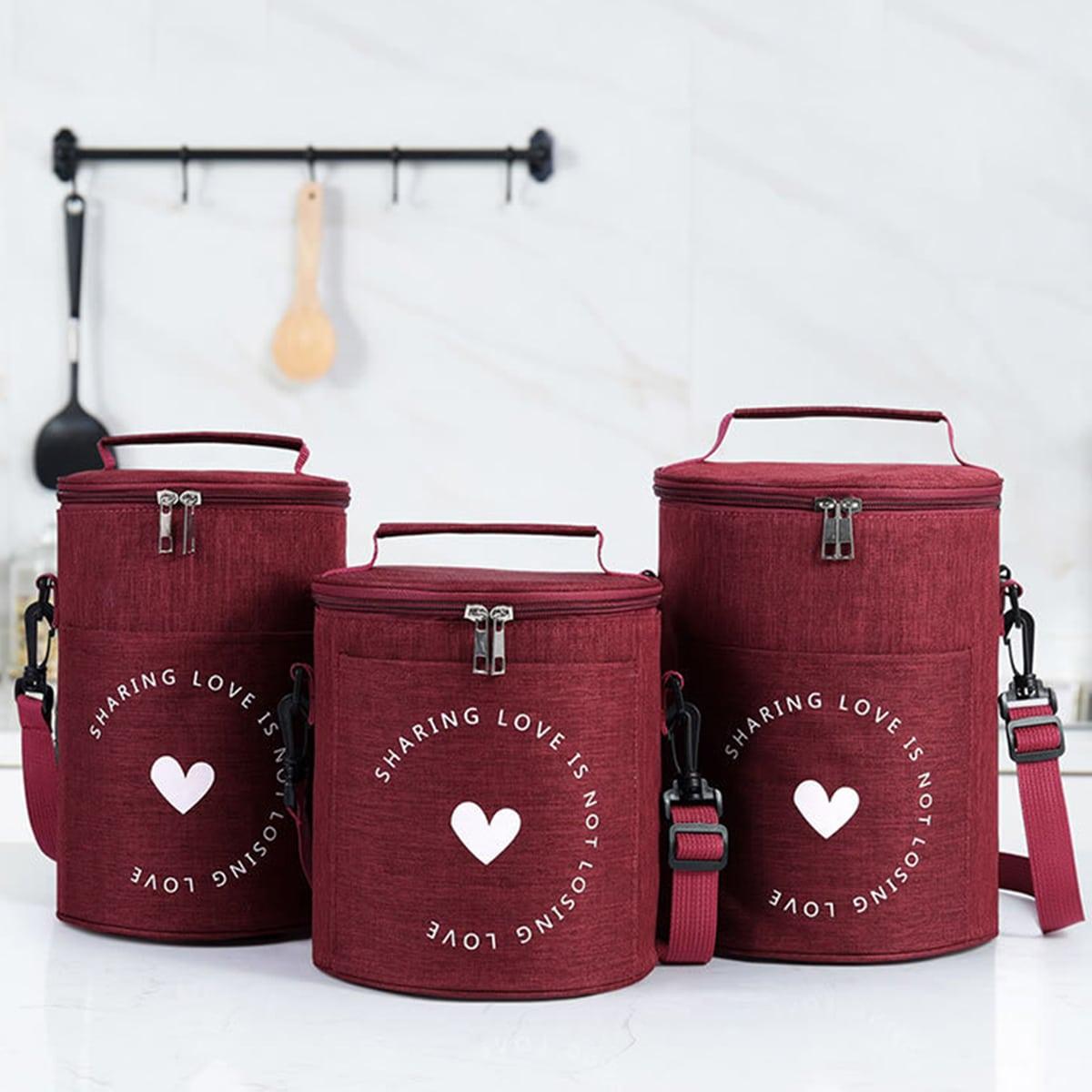 1шт изолированная сумка для обеда с принтом сердечка
